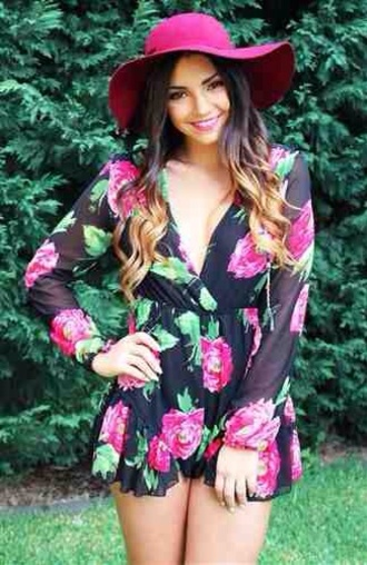 blouse romper floral floral romper summer outfits summer style fedora vneck playsuit summer romper summer ready long sleeve romper hat dress playsuit jumpsuit roses