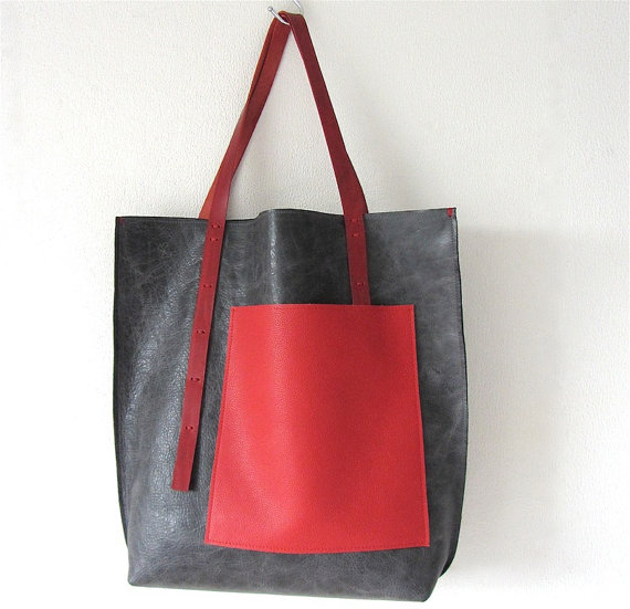 Leather Tote bag / Shopper  and zipper pouch De STIJL  by rinarts