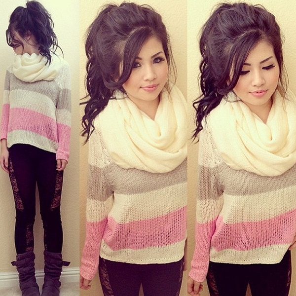 sweater pink scarf striped sweater oversized sweater