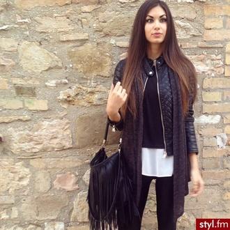 jacket black white bag brunette style eyebrows hands outside pants blouse scarf selfie jeans brown