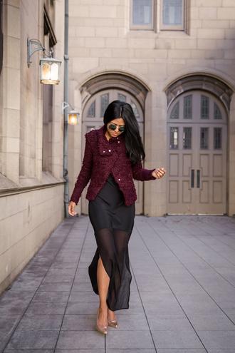 walk in wonderland blogger burgundy jacket fall jacket see through dress