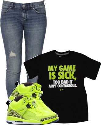 shirt neon neon green nike nike shirts jordans denim boyfriend jeans ripped destressed just do it black white graphic tee dope urban sneakers ripped jeans skinny jeans back to school outfit idea