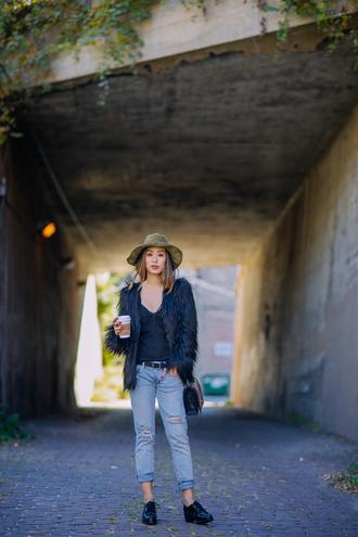 ripped jeans belt jacket underwear blogger neon blush fur faux fur