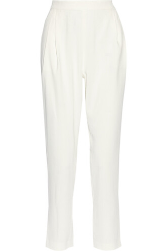 pants floaty long pleated pants white pants