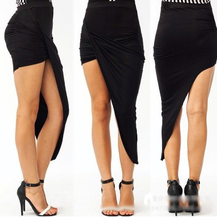 a6996c8ab9 Black Skirts Wrap Waist Draped Cut Out Asymmetrical Hem Low Pleated Long  Skirts
