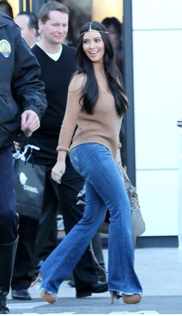 jeans belly button ring blouse kim kardashian hippie jewels sweater