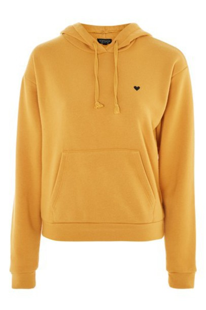 Topshop hoodie heart embroidered mustard sweater