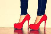 shoes,red shoes,high heels,heels,platform heels,coral,black,red high heels,red heels,velvet,redheels