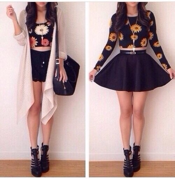 t-shirt sunflower black crop tops belt skirt shoes shirt floral crop tops