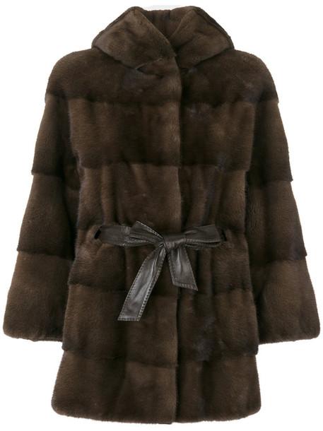 coat fur women leather brown