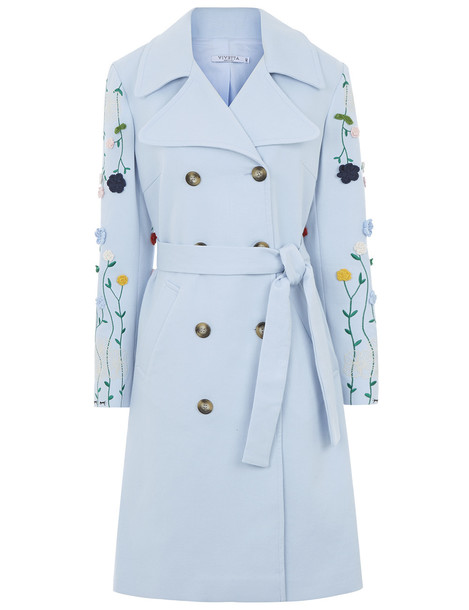 VIVETTA coat embroidered cotton blue