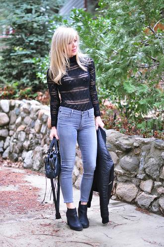 love maegan blogger shoes bag grey jeans black leather jacket black top long sleeves black bag leather jacket