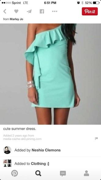 dress summer dress teal dress one shoulder