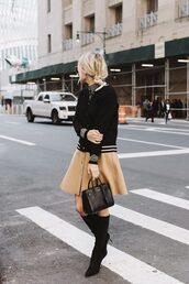 skirt,tumblr,mini skirt,suede skirt,suede,camel suede skirt,baseball jacket,jacket,bomber jacket,black jacket,bag,black bag,knee high boots,boots,high heels boots,fall outfits,theedit,blogger