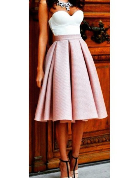 dress pink dress skater dress skirt midi skirt white crop tops