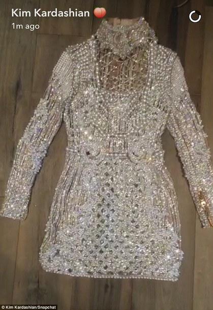 dress balmain rhinestones dress kim kardashian