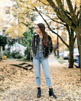 jacket tumblr green jacket velvet velvet jacket denim jeans blue jeans cropped jeans boots black boots