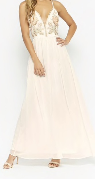dress white ivory dress embroidered prom dress prom flowers floral