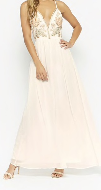 Dress White Ivory Dress Embroidered Prom Dress Prom Flowers