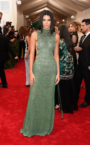 570acef2 dress kendall jenner green dress homecoming dress long dress emerald green  side split sparkly dress green