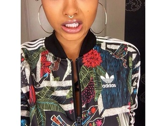 jacket adidas coat adidas sweater colorful floral tropical baddies black girls killin it foral dope adidas jacket dope jacket urban urban outfitters green army green jacket bomber jacket