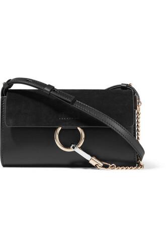 mini bag shoulder bag leather suede black