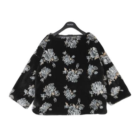 Black Floral Fur Pullover
