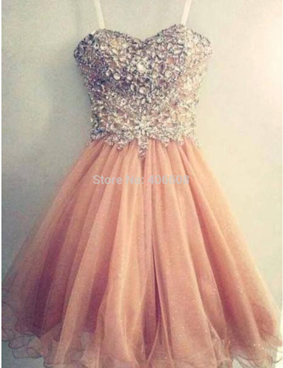 2014 Free Shipping Hot Sale Popular Spaghetti Strap Tulle Beaded Short Peach Prom Dress-in Prom Dresses from Apparel & Accessories on Aliexpress.com