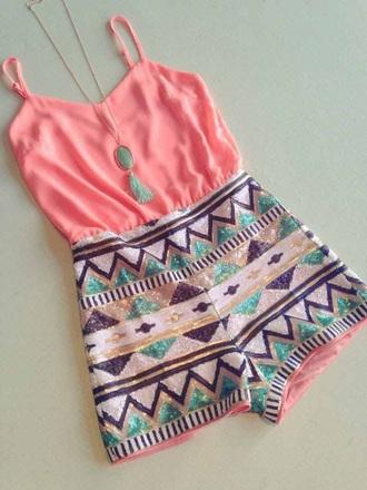 romper pink aztec sequins