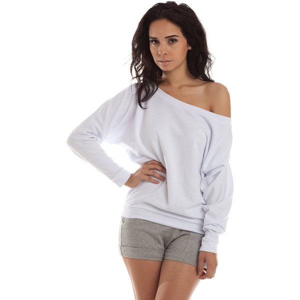 Off shoulder sweatshirt dolman sleeves