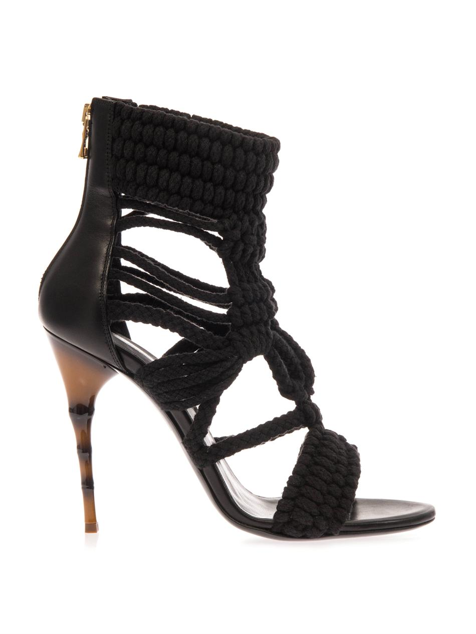 Braided-cotton and leather sandals | Balmain | MATCHESFASHION.COM