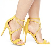 shoes,heels,yellow,yellow shoes,yellow heels,strappy,strappy heels,strappy shoes,flyjane