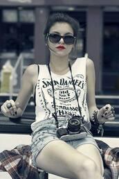 t-shirt,black,shorts,studs,sunglasses,jack daniel's,red lipstick,nail polish,shirt,tank top,white,top,jack daniels shirt,black and white,camera,selena gomez,jack daniels white and black