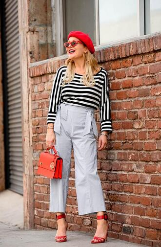 thehuntercollector blogger sweater bag shoes sunglasses jewels beret red bag striped top sandals red heels spring outfits