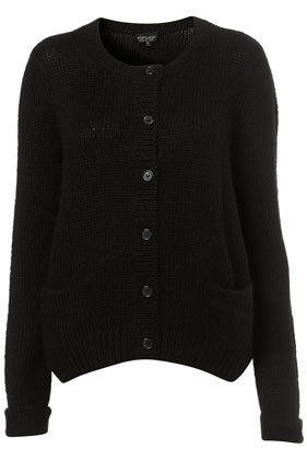 Knitted black mohair mix cardigan