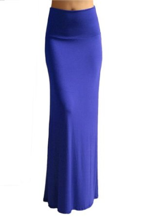 Amazon.com: Azules Women'S Rayon Span Maxi Skirt - Blue S: Clothing