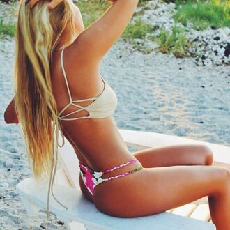 swimwear summer bikini hipster fashion strappy black heels tie pink floral nuetral musthave teenagers sexy itsy bikini