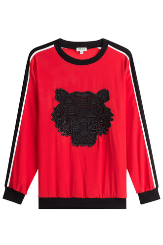 top embroidered red