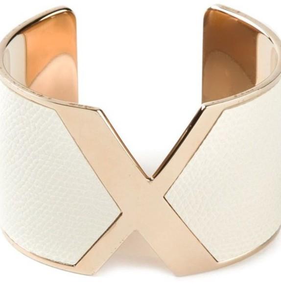 snake print white jewels cuff bracelet gold