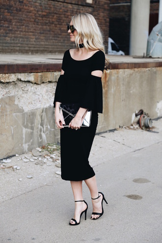 somewherelately blogger midi dress black midi dress metallic clutch high heel sandals sandals date dress date outfit cut-out dress bell sleeves
