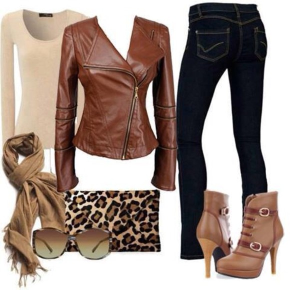 clutch fall outfits outfit leather jacket jeans boots high heels sunglasses scarf leopard print