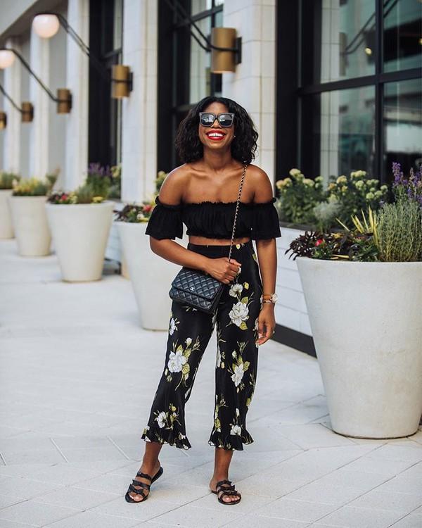 pants topc top crop tops floralf floral pants sunglasses shoes slide shoes