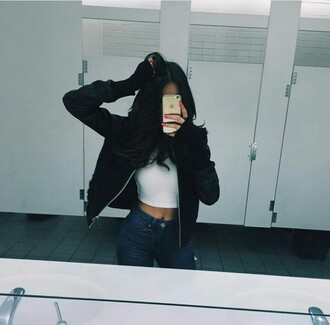jacket black cute nails gloves outfit ootd crop tops jeans love