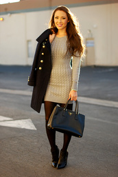 hapa time,sweater,dress,coat,shoes,bag,knitted dress,knitted mini dress,cable knit,mini dress,grey dress,tights,black bag,black coat,military style,grey mini dress,mini knit dress