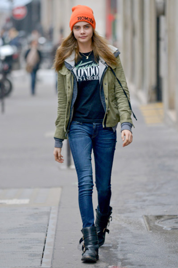coat hat jeans cara delevingne green jacket model fashion