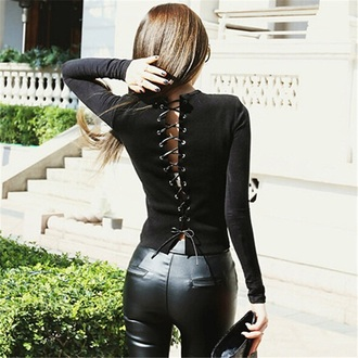 top criss cross black sexy lace up fashion style long sleeves trendy fall outfits musheng