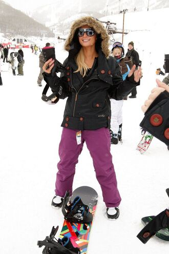 pants skiing winter sports ski pants paris hilton