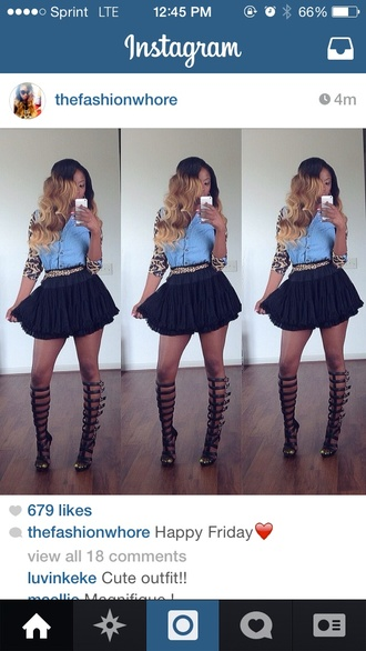 shoes denim shirt gladiators skater skirt leopard print blouse
