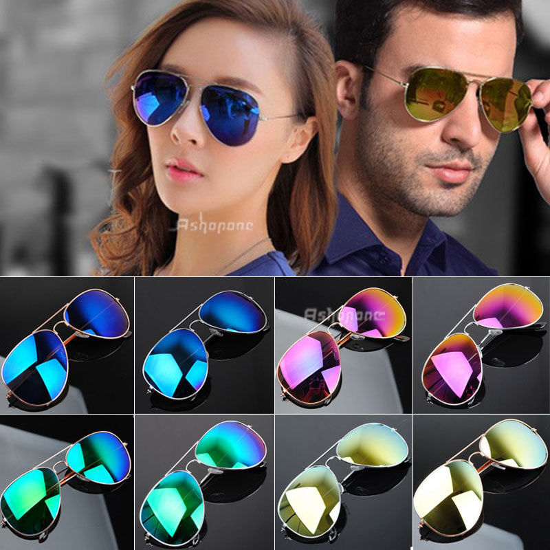 New Unisex Retro 80s Vintage Womens Mens Mirror Aviator Lens Sunglasses | eBay