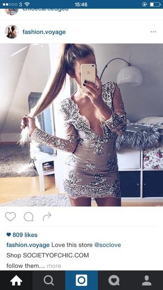 dress women's dres gold sparkle silver sequins v cut party
